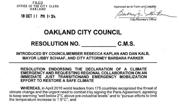 City of Oakland declares a climate emergency